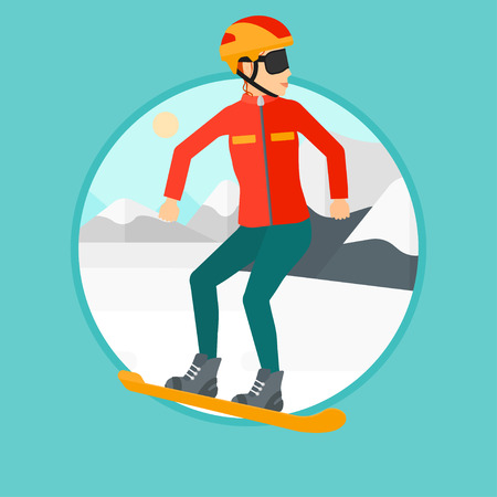 snow capped: Sportswoman snowboarding on the background of snow capped mountain. Woman snowboarding in the mountains. Snowboarder in action. Vector flat design illustration in the circle isolated on background.