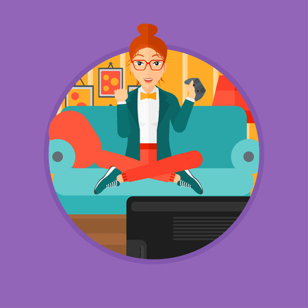 playing video game: Happy gamer playing video game on the television. An excited young woman with console in hands playing video game at home. Vector flat design illustration in the circle isolated on background. Illustration