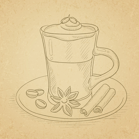 Coffee cup with anise, sticks of cinnamon and coffee beans on saucer. Coffee hand drawn on old paper vintage background. Coffee vector sketch illustration. Ilustracja