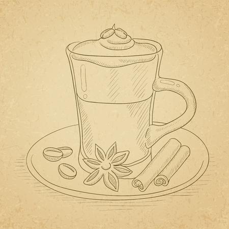 Koffiekopje met anijs, kaneelstokjes en koffiebonen op schotel. Koffietank op oude document uitstekende achtergrond wordt getrokken die. Koffie vector schets illustratie.