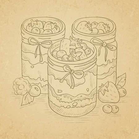 confiture: Jam in glass jars and fresh berries. Jam jar hand drawn on old paper vintage background. Jam jar vector sketch illustration.