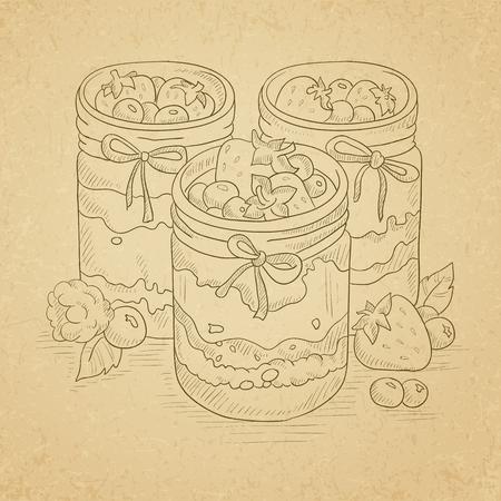 Jam in glass jars and fresh berries. Jam jar hand drawn on old paper vintage background. Jam jar vector sketch illustration.