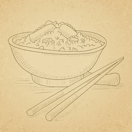 boiled: Bowl of boiled rice with chopsticks. Bowl of boiled rice hand drawn on old paper vintage background. Bowl of boiled rice vector sketch illustration.