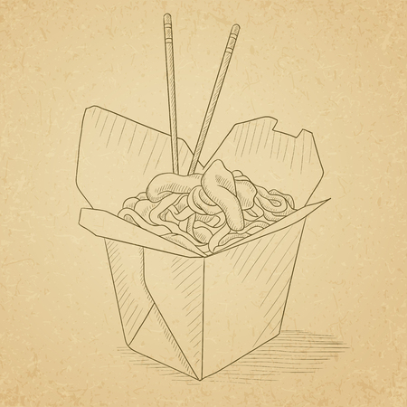 chinese food container: Chinese food and chopsticks in a takeaway container. Chinese food hand drawn on old paper vintage background. Chinese food vector sketch illustration. Illustration