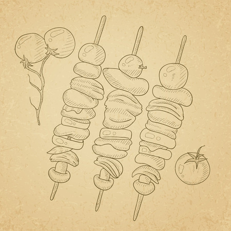 Shish kebabs on skewers. Shish kebabs hand drawn on old paper vintage background. Shish kebabs vector sketch illustration.