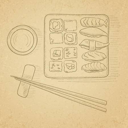 sushi  plate: Various kinds of sushi served on a plate. Sushi hand drawn on old paper vintage background. Sushi vector sketch illustration.