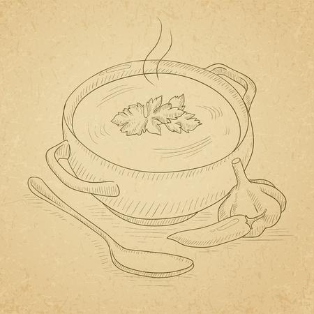 Pot of hot soup. Soup hand drawn on old paper vintage background. Soup vector sketch illustration.