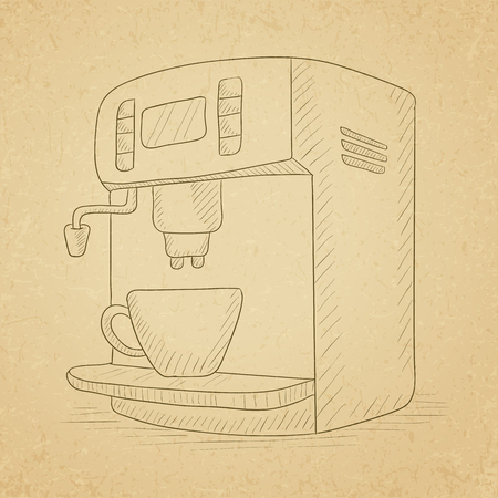 automat: Coffee maker with cup. Coffee maker hand drawn on old paper vintage background. Coffee maker vector sketch illustration.