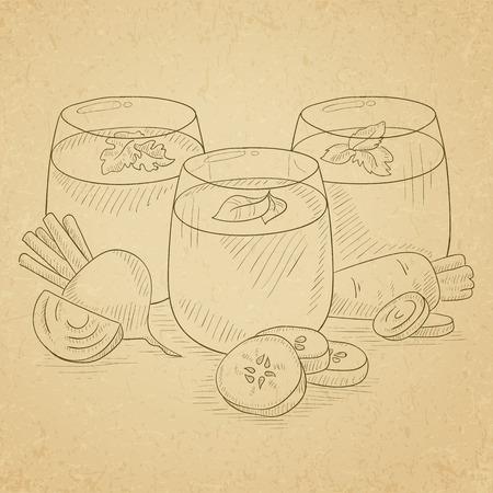 squeezed: Freshly squeezed vegetable juices from cucumber, beet and carrot. Squeezed vegetable juices hand drawn on old paper vintage background. Squeezed vegetable juices vector sketch illustration.