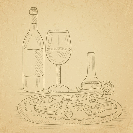marjoram: Pizza with bottle of wine and a glass. Pizza hand drawn on old paper vintage background. Pizza vector sketch illustration.