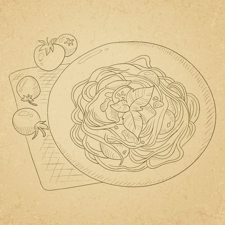 Spaghetti with basil and tomatoes on plate on napkin. Spaghetti hand drawn on old paper vintage background. Spaghetti  vector sketch illustration.