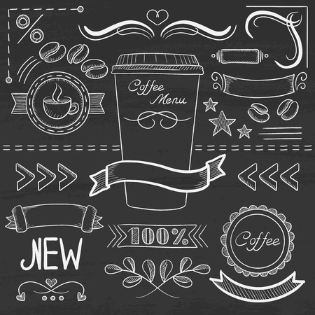 menu board: Set of vintage labels, ribbons, frames, banners, and advertisements for coffee menu board for restaurant and coffee shop. Hand drawn in chalk on a blackboard vector sketch illustration. Illustration