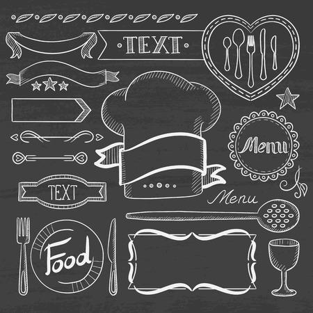 menu board: Set of vintage labels, ribbons, frames, banners, and advertisements for restaurants food menu board. Hand drawn in chalk on a blackboard vector sketch illustration. Illustration