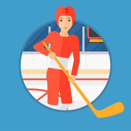 hockey equipment: Female ice hockey player skating on ice rink. Professional ice hockey player with a stick. Sportswoman playing ice hockey. Vector flat design illustration in the circle isolated on background.
