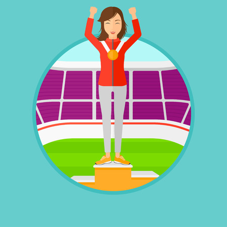 sportswoman: Sportswoman celebrating on the winners podium. Sportswoman with gold medal and hands raised standing on the winners podium. Vector flat design illustration in the circle isolated on background.
