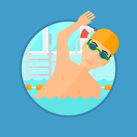 swimming animal: Young sportsman wearing cap and glasses swimming in pool. Professional male swimmer in swimming pool. Vector flat design illustration in the circle isolated on background.