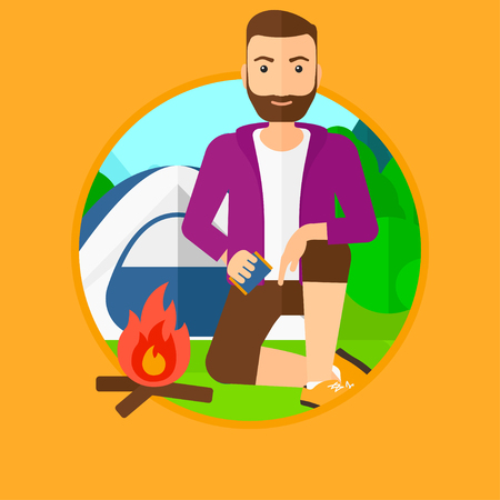 kindling: A hipster man with the beard kindling a campfire on the background of camping site with tent. Tourist relaxing near campfire. Vector flat design illustration in the circle isolated on background. Illustration
