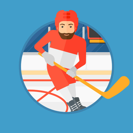 hockey equipment: Hipster ice hockey player with the beard skating on ice rink. Ice hockey player with a stick. Sportsman playing ice hockey. Vector flat design illustration in the circle isolated on background.