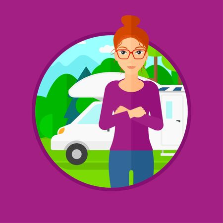 motor home: Woman standing in front of motor home. Woman with arms crossed enjoying vacation in camper van. Woman travelling by camper van. Vector flat design illustration in the circle isolated on background. Illustration