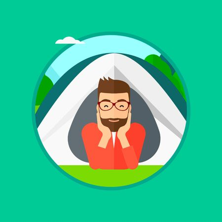 A hipster man with the beard crawling out from a camping tent. Man with his hands on cheek lying in camping tent and relaxing. Vector flat design illustration in the circle isolated on background.