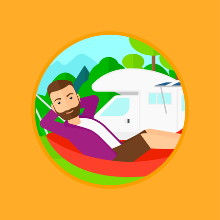 motor home: Hipster man with the beard lying in a hammock in front of motor home. Man resting in hammock and enjoying vacation in camper van. Vector flat design illustration in the circle isolated on background.