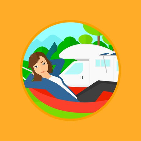 motor home: Young woman lying in a hammock in front of motor home in the forest. Woman resting in hammock and enjoying vacation in camper van. Vector flat design illustration in the circle isolated on background.
