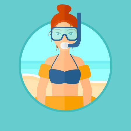 rubber tube: Woman in mask, tube and rubber ring standing on the background of beach and sea. Woman wearing snorkeling equipment on the beach. Vector flat design illustration in the circle isolated on background.