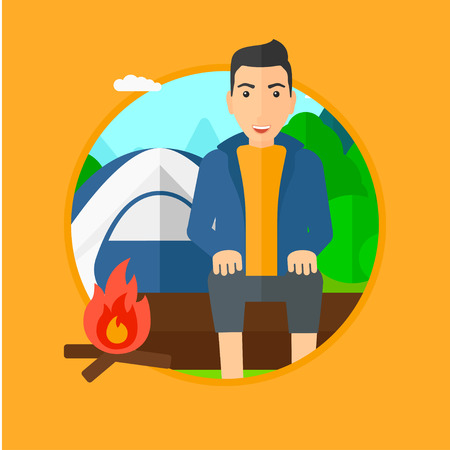 camping site: Travelling man sitting on a log near a fire on a background of camping site with tent. Man sitting near a campfire at a campsite. Vector flat design illustration in the circle isolated on background.