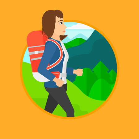 Young woman hiking in mountains. Female traveler with backpack mountaineering. Hiking woman with backpack walking outdoor. Vector flat design illustration in the circle isolated on background.