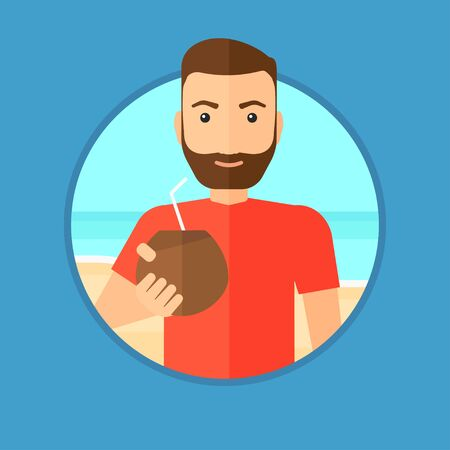 caucasians: Hipster man with a coconut cocktail on the beach. Young man drinking a coconut cocktail on the beach. Man enjoying his vacation. Vector flat design illustration in the circle isolated on background.