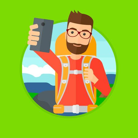 A hipster man with the beard making selfie on the background of hilly countryside. Man with backpack taking photo with cellphone. Vector flat design illustration in the circle isolated on background.