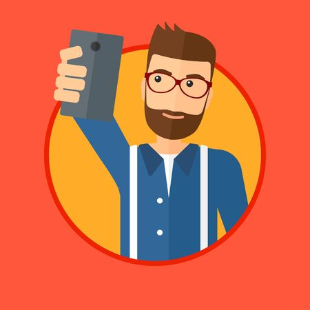 A hipster man with the beard making selfie. Young man taking photo with cellphone. Man looking at smartphone and taking selfie. Vector flat design illustration in the circle isolated on background.
