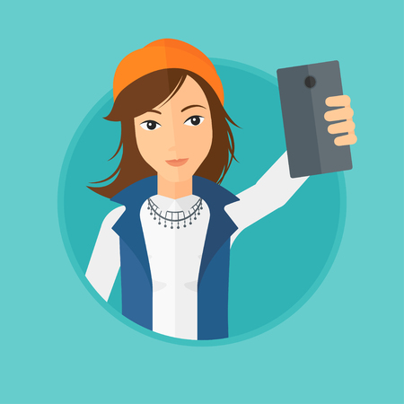 woman cellphone: Woman making selfie. Young woman taking photo with cellphone. Woman looking at smartphone and taking selfie. Vector flat design illustration in the circle isolated on background.