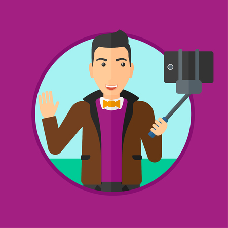 taking photo: Smiling man making selfie with a selfie-stick. Man taking photo with cellphone. Young man taking selfie and waving. Vector flat design illustration in the circle isolated on background.