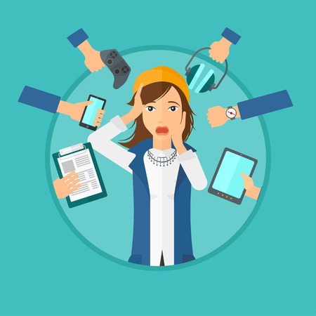 despair: Woman in despair and many hands with gadgets around her. Young woman surrounded with gadgets. Woman using many electronic gadgets. Vector flat design illustration in the circle isolated on background. Illustration