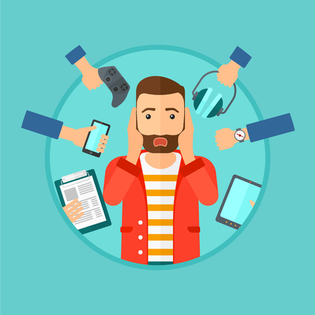 despair: Man in despair and many hands with gadgets around him. Young man surrounded with gadgets. Man using many electronic gadgets. Vector flat design illustration in the circle isolated on background. Illustration