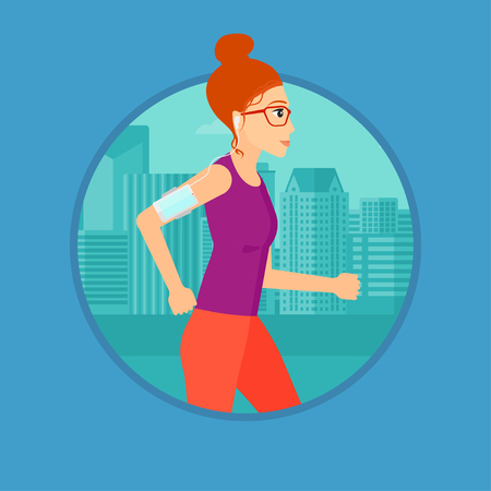 armband: Woman running with earphones and armband for smartphone. Woman listening to music during running. Woman running in the city. Vector flat design illustration in the circle isolated on background.