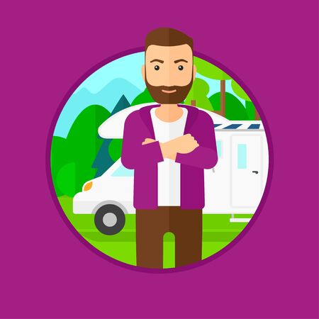 motor home: A hipster man with the beard standing in front of motor home. Young man with arms crossed enjoying vacation in camper van. Vector flat design illustration in the circle isolated on background.