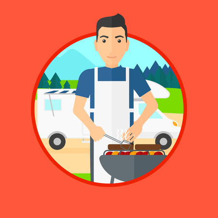 camper trailer: Young man cooking meat on barbecue on the background of camper van. Man travelling by camper van and having barbecue party. Vector flat design illustration in the circle isolated on background.