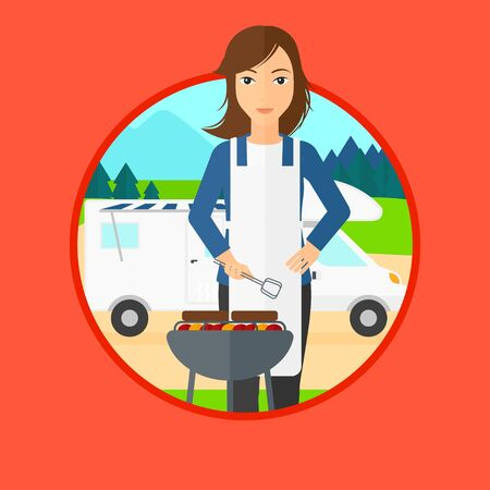 camper trailer: Young woman cooking meat on barbecue on the background of camper van. Woman travelling by camper van and having barbecue party. Vector flat design illustration in the circle isolated on background.