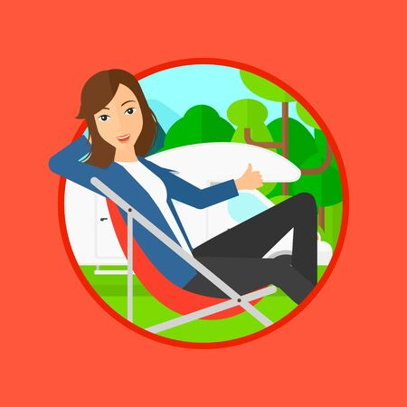 camper: Young woman sitting in a folding chair and giving thumb up on the background of camper van. Woman enjoying vacation in camper van. Vector flat design illustration in the circle isolated on background.