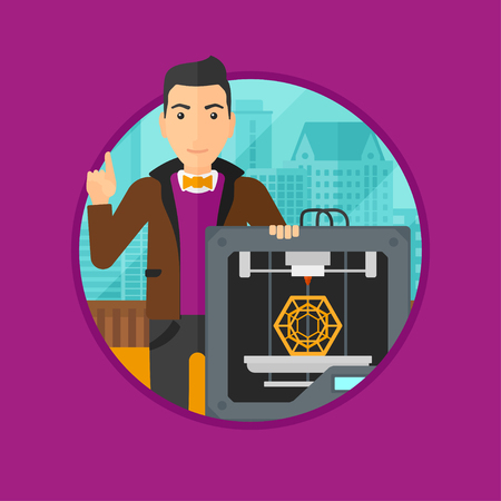 3d printer: Young man standing near 3D printer and pointing forefinger up. Engineer using a 3D printer indoor. Man working with 3D printer. Vector flat design illustration in the circle isolated on background.