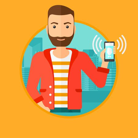 answering phone: A hipster man holding ringing mobile phone on a city background. Young man answering a phone call. Man with ringing phone in hand. Vector flat design illustration in the circle isolated on background. Illustration
