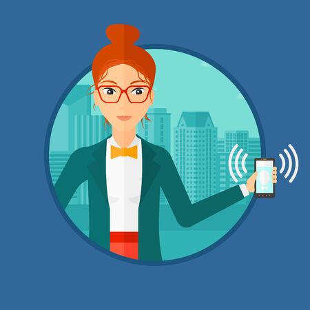 Woman holding ringing mobile phone on a city background. Young woman answering a phone call. Woman with ringing phone in hand. Vector flat design illustration in the circle isolated on background.  イラスト・ベクター素材