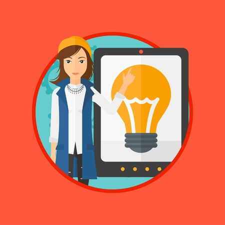 woman tablet: Young woman pointing at a big tablet computer. Woman standing near a big tablet computer with a light bulb on a screen. Vector flat design illustration in the circle isolated on background.