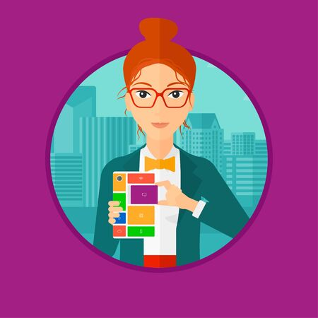 Smiling woman holding modular phone. Young woman with modular phone standing on a city background. Woman using modular phone. Vector flat design illustration in the circle isolated on background.