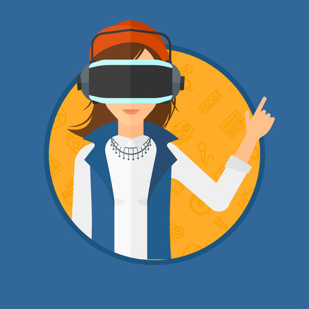 woman pointing up: Woman wearing a virtual relaity headset. Woman in a virtual relaity headset pointing a forefinger up while playing video game. Vector flat design illustration in the circle isolated on background.