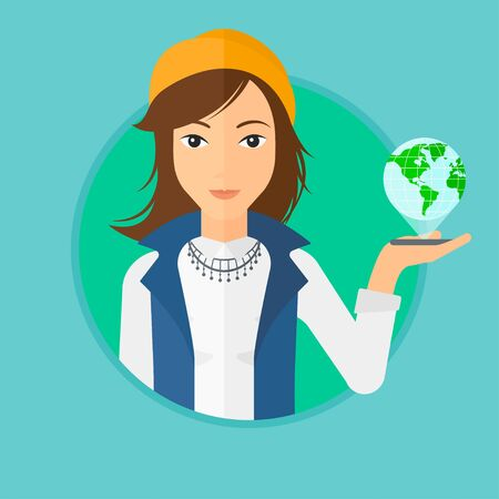 shape vector: Young woman holding a smartphone with a model of planet earth above the device. International technology communication concept. Vector flat design illustration in the circle isolated on background.