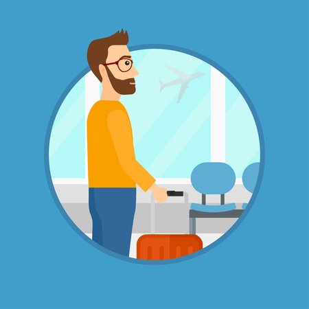 A hipster man at the airport with a suitcase. Man standing at the airport and looking through the window at the flying airplane. Vector flat design illustration in the circle isolated on background. Illustration