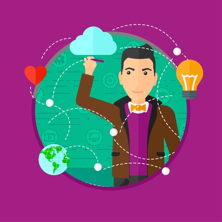 writing on screen: Young man writing on a virtual screen. Businessman drawing a cloud computing diagram on a virtual screen. Cloud computing concept. Vector flat design illustration in the circle isolated on background.